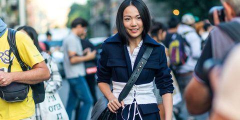 Bag, Denim, Street fashion, Street, Jacket, Luggage and bags, Waist, Belt, Long hair, Handbag,