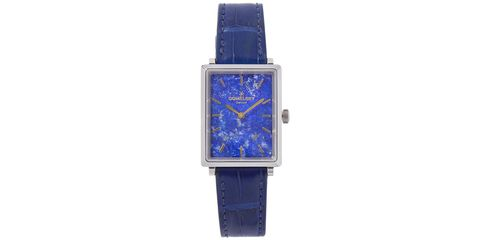 Blue, Product, Watch, Glass, Analog watch, Watch accessory, Fashion accessory, Amber, Electric blue, Font,