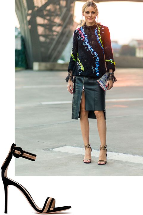 "<p>Olivia Palermo showed that a black and gold heel&nbsp;is an always-essential.&nbsp;</p><p><em data-redactor-tag=""em"" data-verified=""redactor"">Gianvito Rossi sandal, $1,095, <strong data-redactor-tag=""strong"" data-verified=""redactor""><a href=""https://shop.harpersbazaar.com/g/gianvito-rossi/portofino-metallic-embroidered-suede-sandals-10296.html"" target=""_blank"">shopBAZAAR.com</a></strong>.&nbsp;</em></p>"
