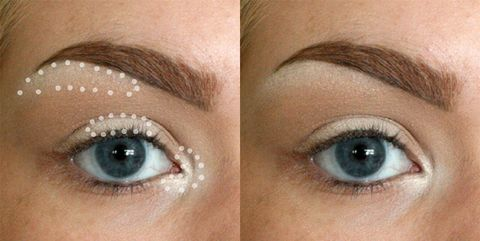 "<p>Apply highlighter to the inner corner of your eye <em data-redactor-tag=""em"">and</em> the center of your eyelid to appear more awake, then add some just beneath your eyebrow to create an instant lift. </p><p>Get the tutorial at <a href=""http://imgur.com/a/67Ru2"" target=""_blank"">Imgur</a>.</p>"
