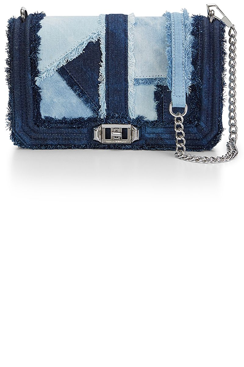 "<p><strong data-redactor-tag=""strong"" data-verified=""redactor"">Rebecca Minkoff</strong> bag, $295, <a href=""http://www.rebeccaminkoff.com/love-crossbody-denim-patchwork?src=catalog"" target=""_blank"">rebeccaminkoff.com</a>.</p>"