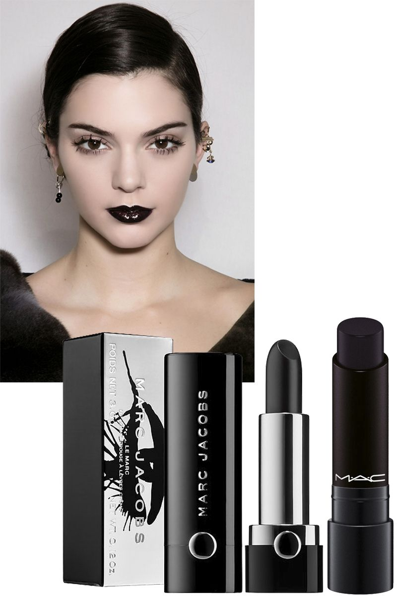 <p>Black lipstick looks best when it's opaque (check out Kendall Jenner for inspiration, seen here at the fall 2016 Christian Dior show). Layer on your first coat, blot if you need to, then add a second. Trace a little concealer around your outer lip line to clean up any smudges and prevent the color from slipping and sliding.