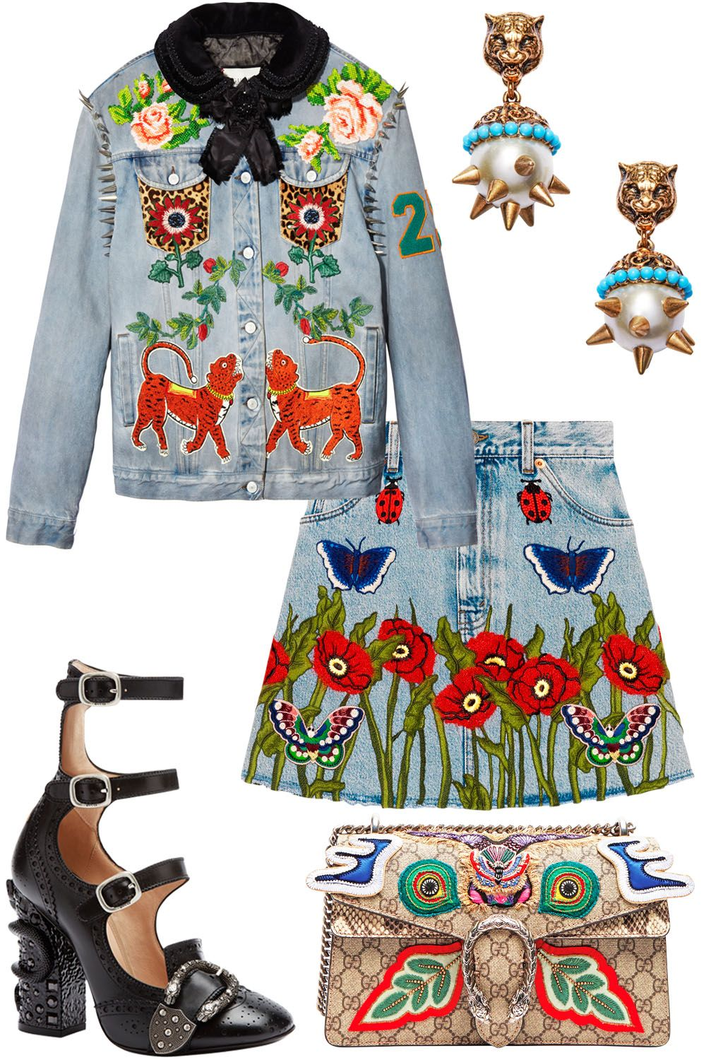 """<p><em data-redactor-tag=""""em"""" data-verified=""""redactor"""">Gucci jacket, $7,700, and<em data-redactor-tag=""""em"""">shoes, $1,790</em><span class=""""redactor-invisible-space"""" data-verified=""""redactor"""" data-redactor-tag=""""span"""" data-redactor-class=""""redactor-invisible-space"""">,</span><a href=""""http://www.gucci.com/"""" target=""""_blank"""">gucci.com</a>;Gucciearrings, $450,bag,$3,800, and skirt, $1,890,<a href=""""http://www.shopbazaar.com/"""" target=""""_blank"""">shopBAZAAR.com</a>.</em></p>"""