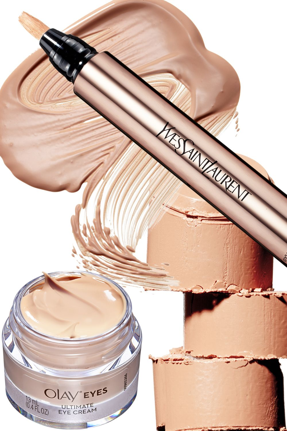"""<p>Peachy color corrector hides even the most egregious dark circles. Swipe it on before applying concealer. Tip: Under-eye darkness is often caused by blood pooling beneath the skin, which becomes thinner and more transparent over time. Fight it with an eye cream that contains niacinamide&#x3B; it helps densify your skin's barrier.</p><p><em data-redactor-tag=""""em"""" data-verified=""""redactor""""><br></em></p><p><em data-redactor-tag=""""em"""" data-verified=""""redactor"""">From top,&nbsp&#x3B;clockwise:&nbsp&#x3B;<strong data-redactor-tag=""""strong"""" data-verified=""""redactor"""">Yves Saint Laurent</strong> Touche Éclat Neutralizers in Abricot Bisque, $38, <a href=""""http://www.yslbeautyus.com/touche-%C3%A9clat/141YSL.html?dwvar_141YSL_color=1%20Luminous%20Radiance&amp&#x3B;gclid=CjwKEAjw97K_BRCwmNTK26iM-hMSJABrkNtb6COkY2px-VtfCWHkBEisoXqfion7ezsjjjU_XdzNjhoCvN3w_wcB&amp&#x3B;cm_mmc=cpc-_-googleSearchBrand-_-YSL%20Make%20Up%20-%20Ph_Product%20-%20Touche%20Eclat2-_-kw%3A%20yves%20st%20laurent%20touche%20eclat"""" target=""""_blank"""">yslbeautyus.com</a>&#x3B;&nbsp&#x3B;<strong data-redactor-tag=""""strong"""" data-verified=""""redactor"""">Dior</strong> Fix It 2-in-1 Prime and Colour Correct in Apricot # 003<span>, $36, <a href=""""http://www.dior.com/beauty/en_us/fragrance-beauty/makeup/face/primers/pr-primers-y0929603-2-in-1-prime-colour-correct-face-eyes-lips.html?gclid=CjwKEAjw97K_BRCwmNTK26iM-hMSJABrkNtbGYO4Jfy4lwzjpU9T6NmLG-GlG1ipLgo4j3yZJtsWgRoClPvw_wcB"""" target=""""_blank"""">dior.com</a>&#x3B;&nbsp&#x3B;</span><strong data-redactor-tag=""""strong"""" data-verified=""""redactor"""">Olay</strong> Eyes Ultimate Eye Cream</em><span><em data-redactor-tag=""""em"""" data-verified=""""redactor"""">, $25, <a href=""""http://www.olay.com/en-us/skin-care-products/olay-total-effects-anti-aging-eye-treatment?&amp&#x3B;utm_source=google&amp&#x3B;utm_medium=cpc&amp&#x3B;utm_campaign=Olay_Search_Brand+Awareness.BMM&amp&#x3B;utm_term=%2Bolay%20%2Beyecream&amp&#x3B;utm_content=sT7GihkvW