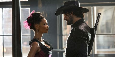 Thandie Newton and James Marsden in Westworld episode 2