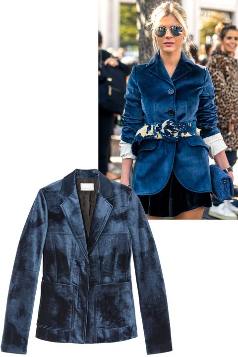 "<p>Velvet had&nbsp;a major moment in all the&nbsp;fashion capitals, and the blazer silhouette was a favorite.&nbsp;</p><p><em data-redactor-tag=""em"" data-verified=""redactor"">3.1 Phillip Lim blazer, $1,295, <strong data-redactor-tag=""strong"" data-verified=""redactor""><a href=""https://shop.harpersbazaar.com/0-9/31-phillip-lim/velvet-moto-jacket-10308.html"" target=""_blank"">shopBAZAAR.com</a></strong>.&nbsp;</em></p>"