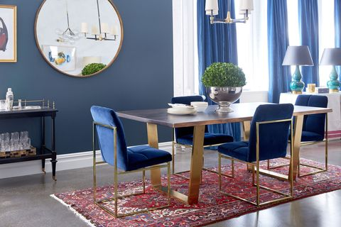 "<p>""Navy, indigo and all shades of blue are fall's answer to color. Make it velvet like these gorgeous chairs and your interior will be spot on. Deep, rich colors not only add dimension to interiors, but they are the anchor to the design. Blue is timeless, so dive in.""<span class=""redactor-invisible-space"" data-verified=""redactor"" data-redactor-tag=""span"" data-redactor-class=""redactor-invisible-space""></span></p>"
