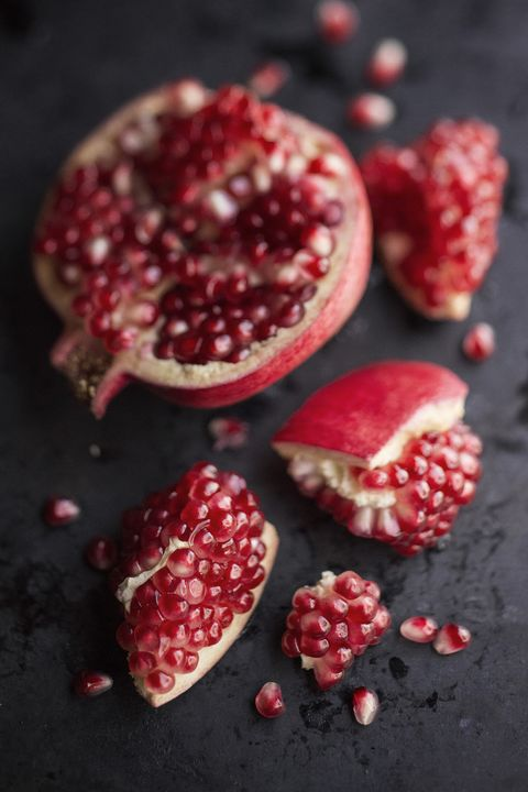 "<p>""Pomegranate seeds and coconut water.""</p>"
