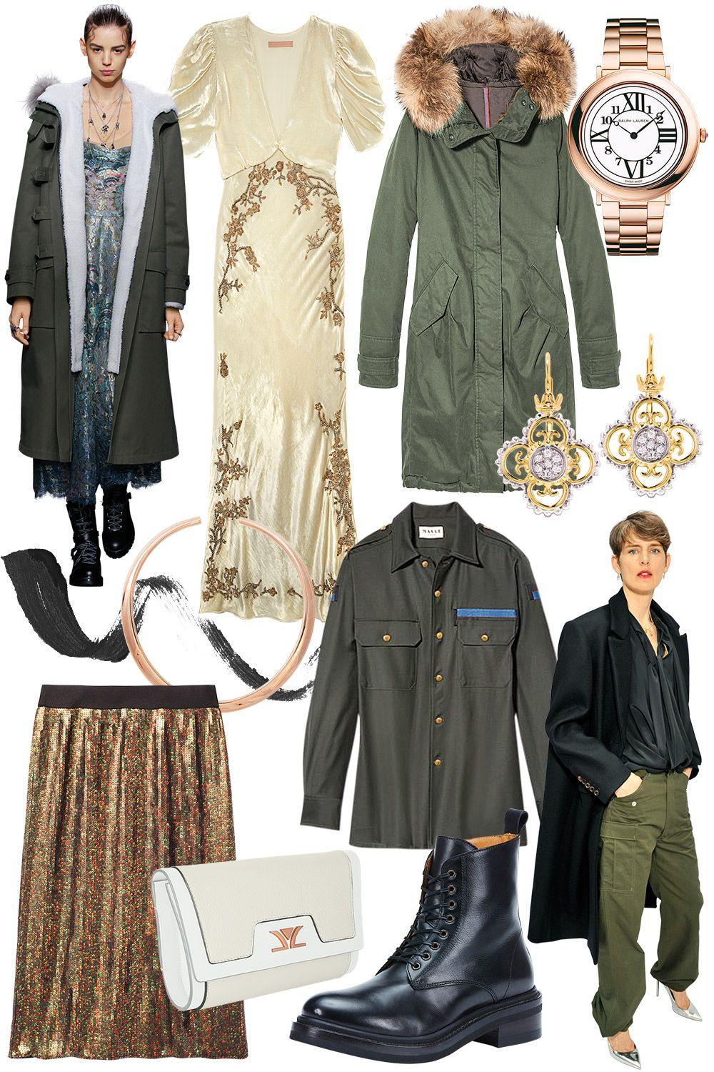 """<p><strong data-redactor-tag=""""strong"""" data-verified=""""redactor"""">STYLIST'S TIP:</strong>An army green jacket toughens up a girly dress.</p><p><em data-redactor-tag=""""em"""" data-verified=""""redactor""""><strong data-redactor-tag=""""strong"""" data-verified=""""redactor""""><br></strong></em></p><p><em data-redactor-tag=""""em"""" data-verified=""""redactor""""><span class=""""redactor-invisible-space"""" data-verified=""""redactor"""" data-redactor-tag=""""span"""" data-redactor-class=""""redactor-invisible-space""""><strong data-redactor-tag=""""strong"""" data-verified=""""redactor""""></strong></span></em><em data-redactor-tag=""""em"""" data-verified=""""redactor""""><strong data-redactor-tag=""""strong"""" data-verified=""""redactor"""">Brock Collection</strong> dress, $4,290, <a href=""""http://www.brocknewyork.com/"""" target=""""_blank"""">brocknewyork.com</a>; <strong data-redactor-tag=""""strong"""" data-verified=""""redactor"""">Moncler</strong> jacket, $1,975, <a href=""""http://moncler.com"""" target=""""_blank"""">moncler.com</a>; <strong data-redactor-tag=""""strong"""" data-verified=""""redactor"""">Ralph Lauren</strong> watch, $21,800, <a href=""""http://www.ralphlauren.com/home/index.jsp?ab=Geo_iUS_rUS_dUS"""" target=""""_blank"""">ralphlauren.com</a>; <strong data-redactor-tag=""""strong"""" data-verified=""""redactor"""">Lancôme</strong> Grandiôse Liner in Matte Noir, $32, <a href=""""http://www.lancome-usa.com/"""" target=""""_blank"""">lancome-usa.com</a>; <strong data-redactor-tag=""""strong"""" data-verified=""""redactor"""">Sidney Garber</strong> necklace, $18,200, <a href=""""http://sidneygarber.com/"""" target=""""_blank"""">sidneygarber.com</a>; <strong data-redactor-tag=""""strong"""" data-verified=""""redactor"""">Maison Mayle</strong> shirt, $795, <a href=""""http://maisonmayle.com/"""" target=""""_blank"""">maisonmayle.com</a>; <strong data-redactor-tag=""""strong"""" data-verified=""""redactor"""">Vahan</strong> earrings, $2,625, <a href=""""http://www.vahanjewelry.com/"""" target=""""_blank"""">vahanjewelry.com</a>; <strong data-redactor-tag=""""strong"""" data-verified=""""redactor"""">Le Vian </strong>clutch, $799, <a href=""""http://levian.com/brandedbylevian/"""" target=""""_blank"""">levian.com</"""
