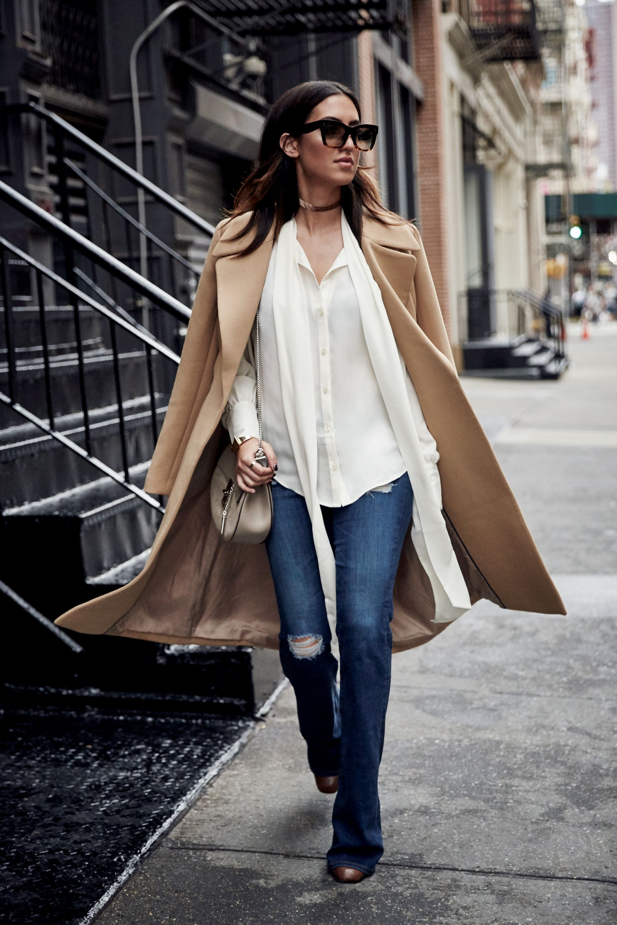 """<p>To mix up an otherwise classic outfit, look for pieces with a fanciful twist, like an undone tie-neckblouse and flared jeans with a tough-girl tear.Throwa versatile camel coatover your shoulders fora bit of cool-girlcharm.</p><p><br> </p><p><em data-redactor-tag=""""em"""">Canvas by Lands' End Women's Bow Tie Blouse, $79, <a href=""""http://www.landsend.com/products/womens-bow-tie-blouse/id_303218?sku_0=::IVO"""" target=""""_blank"""">landsend.com</a>;<em data-redactor-tag=""""em"""">Canvas by Lands' End</em><span class=""""redactor-invisible-space"""" data-verified=""""redactor"""" data-redactor-tag=""""span"""" data-redactor-class=""""redactor-invisible-space"""">Women's Wrap Trench Coat, $325, <a href=""""http://www.landsend.com/products/womens-wrap-trench-coat/id_302710?sku_0=::CAM"""" target=""""_blank"""">landsend.com</a></span></em></p>"""