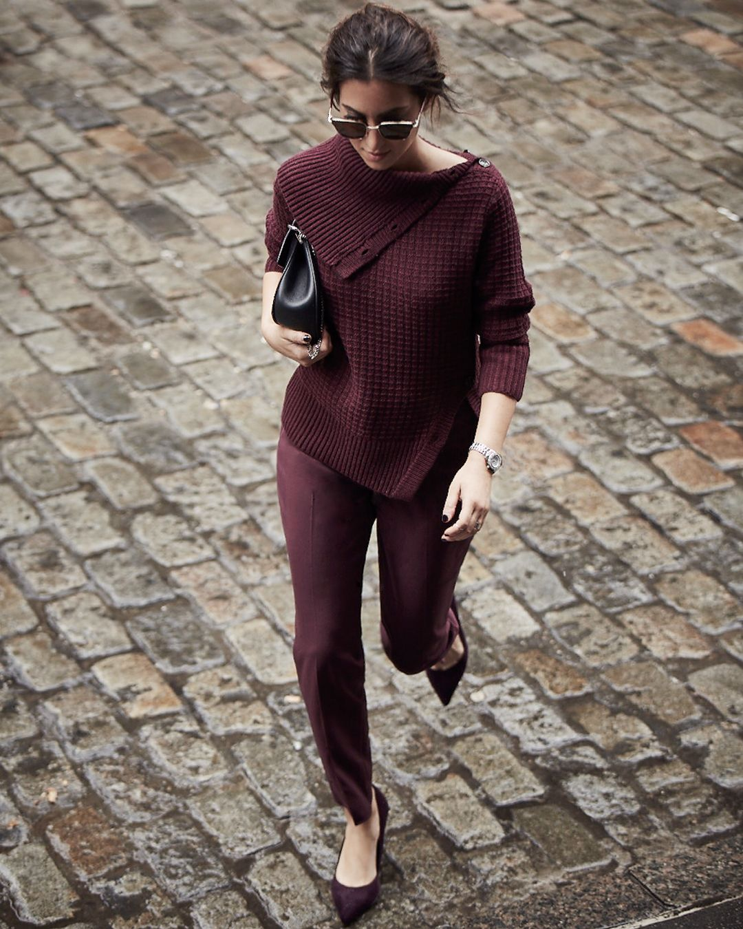 """<p>An all-one-color outfit is the quickest road to chic.May we suggest trying outthe color of the season: a rich, jewel-like burgundy.</p><p><br> </p><p><em data-redactor-tag=""""em"""">Canvas by Lands' End Women's 3/4 Sleeve Turtleneck Sweater, $125, <a href=""""http://www.landsend.com/products/womens-34-sleeve-turtleneck-sweater/id_302314?sku_0=::DBO"""" target=""""_blank"""">landsend.com</a>;<em data-redactor-tag=""""em"""">Canvas by Lands' End Women's</em><span class=""""redactor-invisible-space"""" data-verified=""""redactor"""" data-redactor-tag=""""span"""" data-redactor-class=""""redactor-invisible-space""""></span>Slim Ankle Pants, $95, <a href=""""http://www.landsend.com/products/womens-slim-ankle-pants/id_302352?sku_0=::DBO"""" target=""""_blank"""">landsend.com</a>;<em data-redactor-tag=""""em"""">Canvas by Lands' End Women's</em><span class=""""redactor-invisible-space"""" data-verified=""""redactor"""" data-redactor-tag=""""span"""" data-redactor-class=""""redactor-invisible-space""""></span>Heeled Pointed Toe Pumps, $110, <a href=""""http://www.landsend.com/products/womens-heeled-pointed-toe-pumps/id_302891?sku_0=::BLA"""" target=""""_blank"""">landsend.com</a></em></p>"""