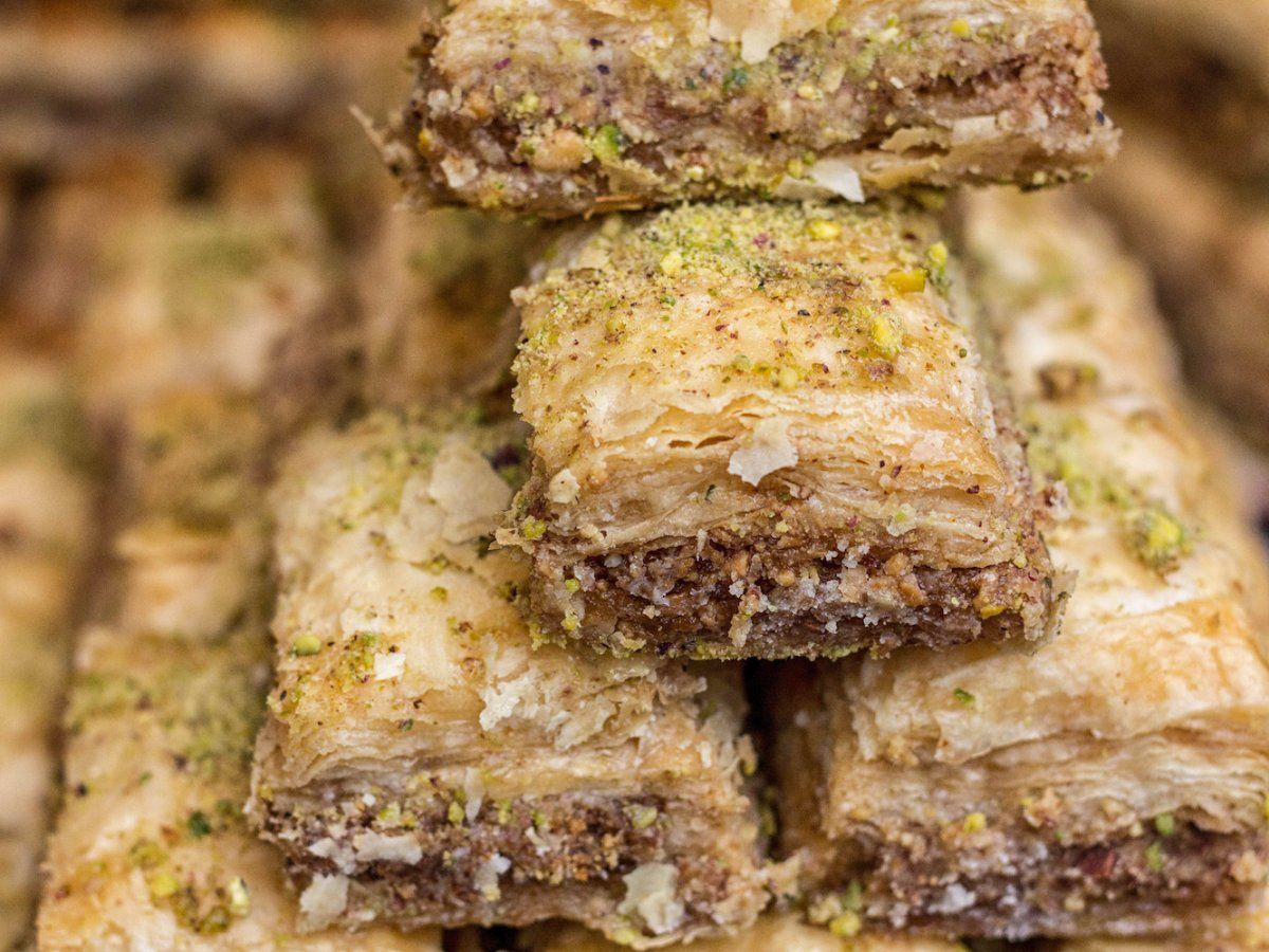 <p>One of Turkey's specialties, baklava, consists of phyllo dough layered between a mixture of chopped nuts. The squares are held together by syrup or honey.</p>