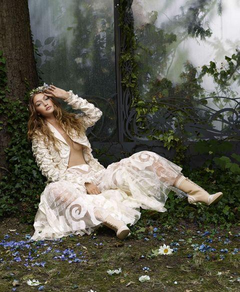 Face, Nose, Human, Dress, Beauty, Gown, Embellishment, Headpiece, Victorian fashion, Costume design,