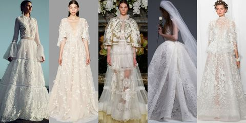 "<p>After seasons of sheer gowns, super-sexy looks and borderline risqué silhouettes, designers covered up for Fall 2017. After all, the concept of the bride wearing white, at its core, is about virginity and purity. This season, designers turned up the volume on traditional&nbsp;roots, sending&nbsp;covered-up, angelic looks with&nbsp;delicately pleated, Victorian&nbsp;necklines, full skirts, ladylike laces and feminine, textural appliqués down the runways. The trend&nbsp;hearkened to a youthful innocence the bridal runways have been lacking lately, and the&nbsp;proof&nbsp;lay in both the designers' inspirations and the execution:&nbsp;Vera Wang dubbed her Fall 2017 collection ""Young Love,"" while Monique Lhuillier&nbsp;started her show notes&nbsp;with a string of adjectives, beginning with the keyword ""youthful.""&nbsp;<em data-redactor-tag=""em"">From left: Costarellos, Marchesa, Yolan Cris, Vera Wang Bride&nbsp;and&nbsp;Reem Acra Fall 2017 Bridal.</em><span class=""redactor-invisible-space"" data-verified=""redactor"" data-redactor-tag=""span"" data-redactor-class=""redactor-invisible-space""></span></p>"