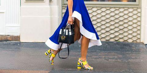 Footwear, Blue, Yellow, Human leg, Joint, White, Style, Bag, Street fashion, Fashion,