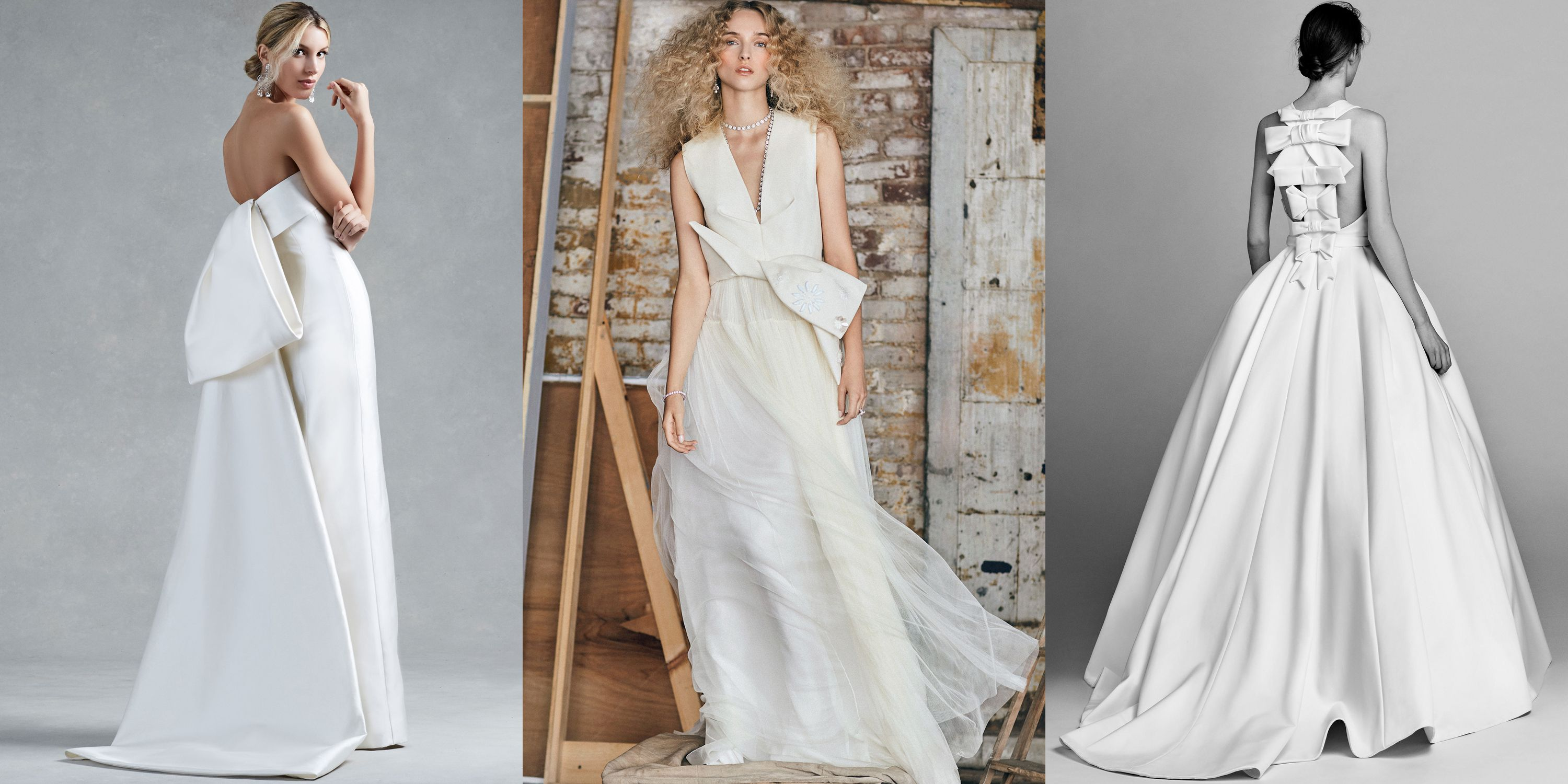 "<p>Bows for brides...groundbreaking. While this may seem like the most bare-bones idea for bridal, this season bows took on new forms–from oversized and abundant to architecturally draped and folded. No longer simply used to cinch your waist (and we'd typically discourage you from wearing add-on sashes that feel more like afterthoughts than part of the dress' design), these ties, knots, obis and twists adorned and embellished gowns of all shapes and styles. <em data-redactor-tag=""em"" data-verified=""redactor"">From left: Oscar de la Renta, Moda Operandi x Delpozo and Viktor and Rolf Fall 2017 Bridal.</em></p>"