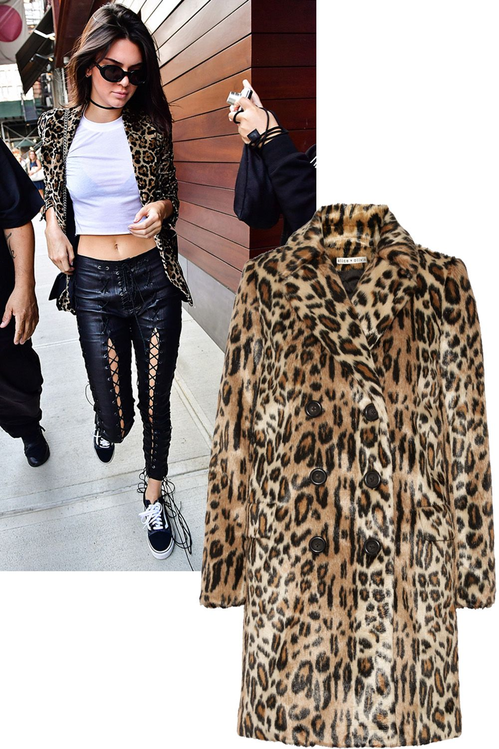 "<p>Who: Kendall Jenner</p><p>What: Leather pants, trainers and a little leopard lend you and your aura a little edge.</p><p><em data-redactor-tag=""em"" data-verified=""redactor"">Alice + Olivia jacket, $595, <a href=""https://www.aliceandolivia.com/montana-doublebreasted-peacoat.html"" target=""_blank"">aliceandolivia.com</a><span class=""redactor-invisible-space"" data-verified=""redactor"" data-redactor-tag=""span"" data-redactor-class=""redactor-invisible-space""><a href=""https://www.aliceandolivia.com/montana-doublebreasted-peacoat.html""></a></span>. </em></p>"