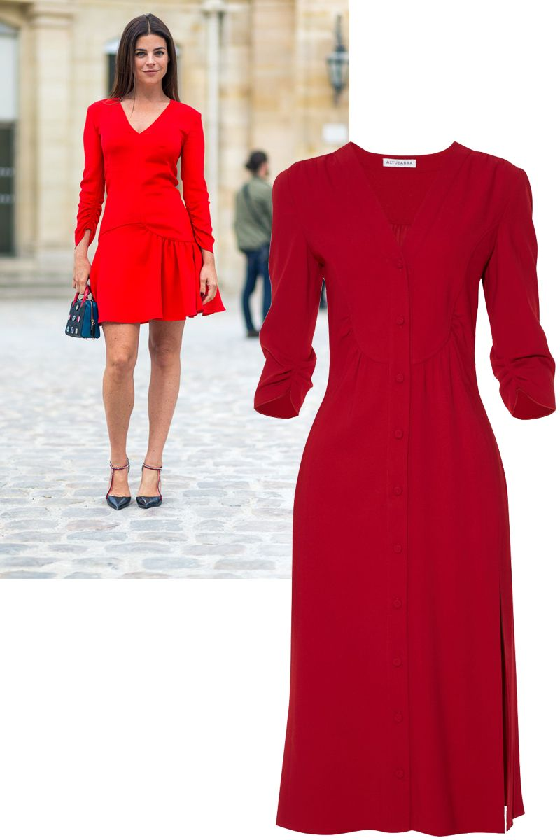 "<p>Who: Julia Restoin Roitfeld</p><p>What: It doesn't get easier—or more eye-catching—than a red dress. Opt for sleeves for a more laid-back approach.</p><p><em data-redactor-tag=""em"" data-verified=""redactor"">Altuzarra dress, $1,950</em><span class=""redactor-invisible-space"" data-verified=""redactor"" data-redactor-tag=""span"" data-redactor-class=""redactor-invisible-space""><em data-redactor-tag=""em"" data-verified=""redactor"">, <a href=""http://www.matchesfashion.com/us/products/Altuzarra-Aimee-stretch-cady-dress-1053196"" target=""_blank"">matchesfashion.com</a>. </em></span></p>"