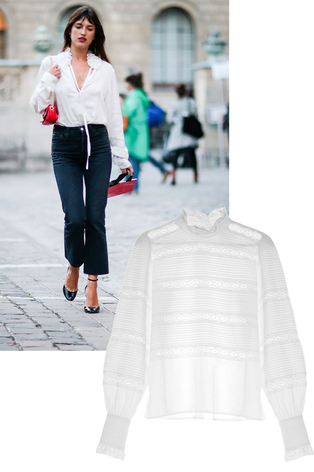 "<p>Who: Jeanna Damas</p><p>What: A pretty blouse and cropped trousers gives that ideal French girl chic.</p><p><em data-redactor-tag=""em"" data-verified=""redactor"">Isabel Marant 'Etoile' blouse, $405</em><span class=""redactor-invisible-space"" data-verified=""redactor"" data-redactor-tag=""span"" data-redactor-class=""redactor-invisible-space""><em data-redactor-tag=""em"" data-verified=""redactor"">, <a href=""http://www.matchesfashion.com/us/products/Isabel-Marant-%C3%89toile-Ria-high-neck-lace-insert-blouse-1059571"" target=""_blank"">matchesfashion.com</a>. </em></span></p>"