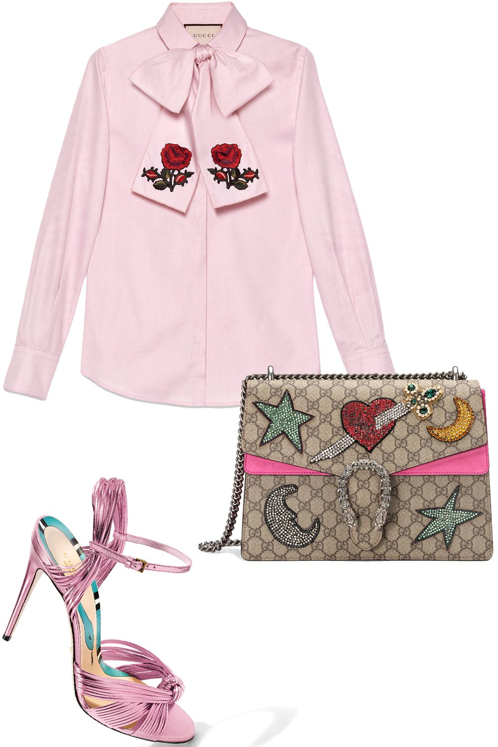 """<p><em data-redactor-tag=""""em"""" data-verified=""""redactor"""">Gucci shirt, $1,110, <strong data-redactor-tag=""""strong"""" data-verified=""""redactor""""><a href=""""https://shop.harpersbazaar.com/g/gucci/washed-oxford-shirt-with-scarf-9729.html"""" target=""""_blank"""" data-tracking-id=""""recirc-text-link"""">shopBAZAAR.com</a></strong>;Gucci sandal, $795, <strong data-redactor-tag=""""strong"""" data-verified=""""redactor""""><a href=""""https://shop.harpersbazaar.com/g/gucci/allies-high-sandal-9825.html"""" target=""""_blank"""" data-tracking-id=""""recirc-text-link"""">shopBAZAAR.com;</a></strong></em><span class=""""redactor-invisible-space""""><em data-redactor-tag=""""em"""" data-verified=""""redactor"""">Gucci bag, $3,600, <strong data-redactor-tag=""""strong"""" data-verified=""""redactor""""><a href=""""https://shop.harpersbazaar.com/g/gucci/marmont-moon-and-sword-bag-9829.html"""" target=""""_blank"""" data-tracking-id=""""recirc-text-link"""">shopBAZAAR.com</a></strong>.</em></span></p>"""