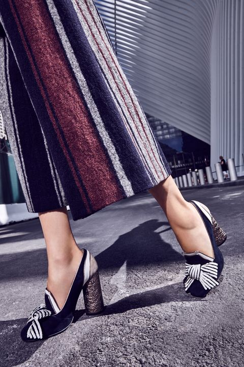 "<p>Stripes made of sequins, suede colorblocking, <em data-redactor-tag=""em"" data-verified=""redactor"">and</em> a metallic column of a&nbsp;heel—this slipper is preppy enough to pass at the office and&nbsp;glams&nbsp;up a sleek&nbsp;shift dress after hours. </p><p><br> </p><p><em data-redactor-tag=""em"" data-verified=""redactor"">Daniel Striped Wide-Leg Pant&nbsp;<em data-redactor-tag=""em"" data-verified=""redactor"">(similar)</em><span class=""redactor-invisible-space"" data-verified=""redactor"" data-redactor-tag=""span"" data-redactor-class=""redactor-invisible-space"">, $139, <a href=""http://www.bcbg.com/en/daniel-striped-wide-leg-pant/OZD2G520-U6T.html?dwvar_OZD2G520-%20U6T_color=U6T#start=6"" target=""_blank"" data-tracking-id=""recirc-text-link"">bcbg.com</a></span>; Christian Louboutin Tudor Trott Suede 85mm Red Sole Pump (similar), $895, <a href=""http://www.neimanmarcus.com/Christian-Louboutin-Tudor-Trott-Suede-85mm-Red-Sole-Pump-Black/prod190940482/p.prod?icid=&amp;searchType=MAIN&amp;rte=%2Fsearch.jsp%3Ffrom%3DbrSearch%26request_type%3Dsearch%26search_type%3Dkeyword%26q%3Dbow&amp;eItemId=prod190940482&amp;cmCat=search&amp;tc=135&amp;currentItemCount=92&amp;q=bow&amp;searchURL=/search.jsp%3Ffrom%3DbrSearch%26start%3D0%26rows%3D30%26q%3Dbow%26l%3Dbow%26request_type%3Dsearch%26search_type%3Dkeyword"" target=""_blank"" data-tracking-id=""recirc-text-link"">neimanmarcus.com</a></em></p>"