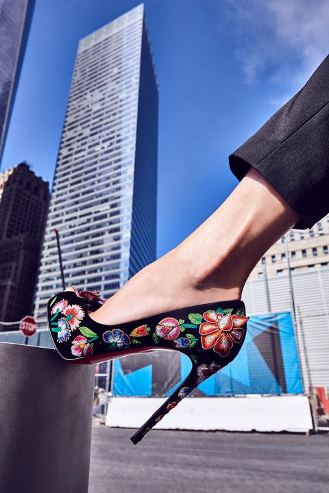 "<p>The only thing better than floral embroidery is 3D floral embroidery—on a bed of black velvet, no less. A platformed, peep-toe stiletto pump wrapped in this much applique is surprisingly versatile. Plus, who doesn't want all the colors&nbsp;of the rainbow at their&nbsp;feet?</p><p><br> </p><p><em data-redactor-tag=""em"">H&amp;M Ankle-Length Tuxedo Pants, $34.99, <a href=""http://www.hm.com/us/product/56280?article=56280-B"" target=""_blank"" data-tracking-id=""recirc-text-link"">hm.com</a>; Christian Louboutin Follies Spiked Floral (similar), $1295, <a href=""http://www.neimanmarcus.com/Christian-Louboutin-Follies-Spiked-Floral-120mm-Red-Sole-Pump-White-Multi/prod184650050/p.prod?icid=&amp;searchType=MAIN&amp;rte=%2Fsearch.jsp%3Ffrom%3DbrSearch%26request_type%3Dsearch%26search_type%3Dkeyword%26q%3Dfloral&amp;eItemId=prod184650050&amp;cmCat=search&amp;tc=99&amp;currentItemCount=38&amp;q=floral&amp;searchURL=/search.jsp%3Ffrom%3DbrSearch%26start%3D0%26rows%3D120%26q%3Dfloral%26l%3Dfloral%26request_type%3Dsearch%26search_type%3Dkeyword"" target=""_blank"" data-tracking-id=""recirc-text-link"">neimanmarcus.com</a></em></p>"