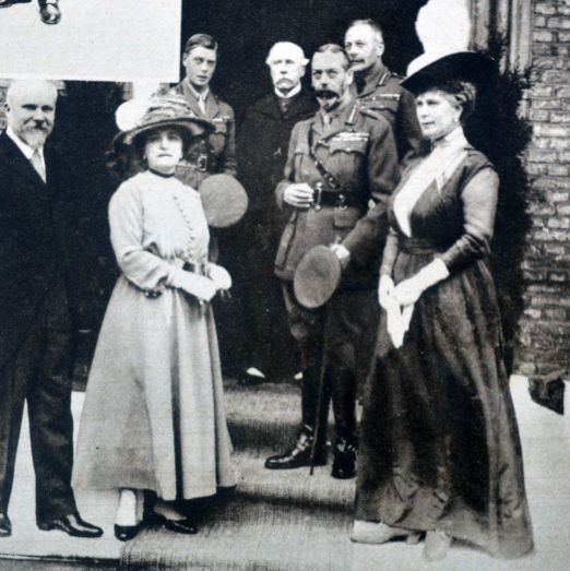 "<p>King George V, Queen Mary, and the Prince of Wales are seen out in front of the British Officers' club.&nbsp&#x3B;<span class=""redactor-invisible-space"" data-verified=""redactor"" data-redactor-tag=""span"" data-redactor-class=""redactor-invisible-space""></span></p>"