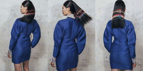 Clothing, Blue, Sleeve, Collar, Textile, Joint, Standing, Winter, Outerwear, Coat,
