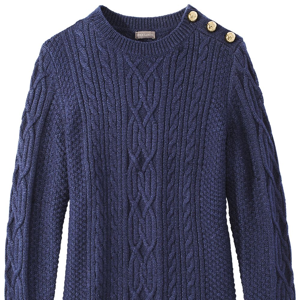 """<p><strong data-redactor-tag=""""strong"""" data-verified=""""redactor"""">Vince Camuto</strong> sweater, $119,&nbsp&#x3B;<a href=""""http://www.vincecamuto.com/"""" target=""""_blank"""">vincecamuto.com</a>.<span class=""""redactor-invisible-space"""" data-verified=""""redactor"""" data-redactor-tag=""""span"""" data-redactor-class=""""redactor-invisible-space""""></span></p>"""