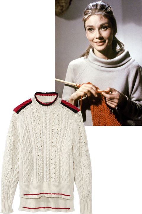 """<p>Audrey Hepburn's character in the film&nbsp;""""Breakfast At Tiffany's"""" (1961) has us in a cable knit kinda mood.&nbsp;</p><p><em data-redactor-tag=""""em"""" data-verified=""""redactor"""">Isabel Marant sweater, $860, <strong data-redactor-tag=""""strong"""" data-verified=""""redactor""""><a href=""""https://shop.harpersbazaar.com/designers/i/isabel-marant/cable-knit-sweater-edison-sweater-9618.html"""" target=""""_blank"""" data-tracking-id=""""recirc-text-link"""">shopBAZAAR.com</a></strong>.&nbsp;</em></p>"""