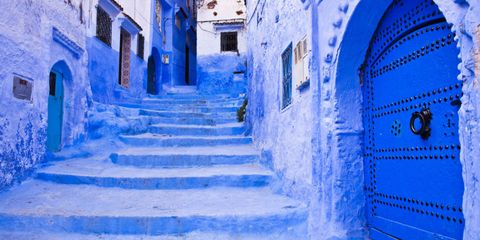 "<p>This <a href=""http://www.housebeautiful.com/room-decorating/colors/g2865/blue-city-morocco/"" target=""_blank"">northwest Moroccan town</a> is known for being covered in&nbsp;bright cerulean blue, which&nbsp;started back in the 15th century when Sephardic Jews took&nbsp;refuge here, as&nbsp;talcum blue is the color of divinity in Judaism.</p>"