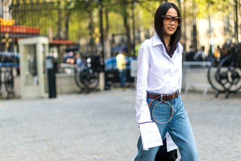 <p>Even small details like elongated sleeves on Yoyo Cao lend interest to everyday denim.</p>
