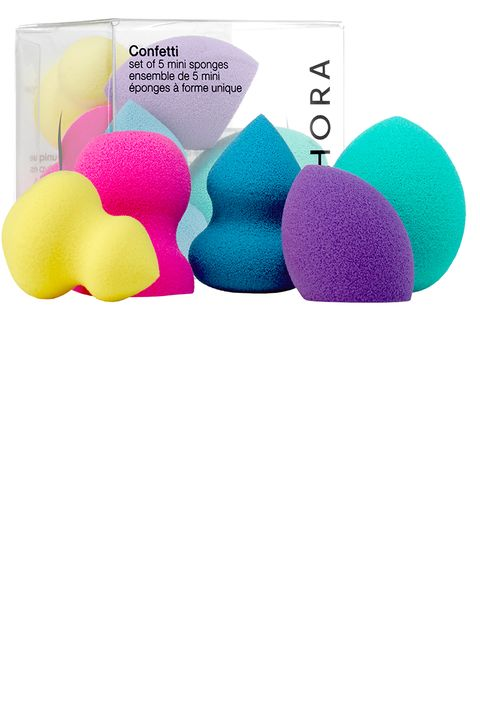 "<p>The bright and cheery-looking set of mini sponges comes in five different shapes to address every hard-to-reach area. Pack them in your makeup bag for a glow on the go. </p><p><strong data-redactor-tag=""strong""></strong></p><p><strong data-redactor-tag=""strong"">Sephora Collection</strong> Confetti Mini Sponges, $12, <a href=""http://www.sephora.com/confetti-set-5-mini-sponges-P408661"" data-tracking-id=""recirc-text-link"" target=""_blank"">sephora.com</a>.</p>"