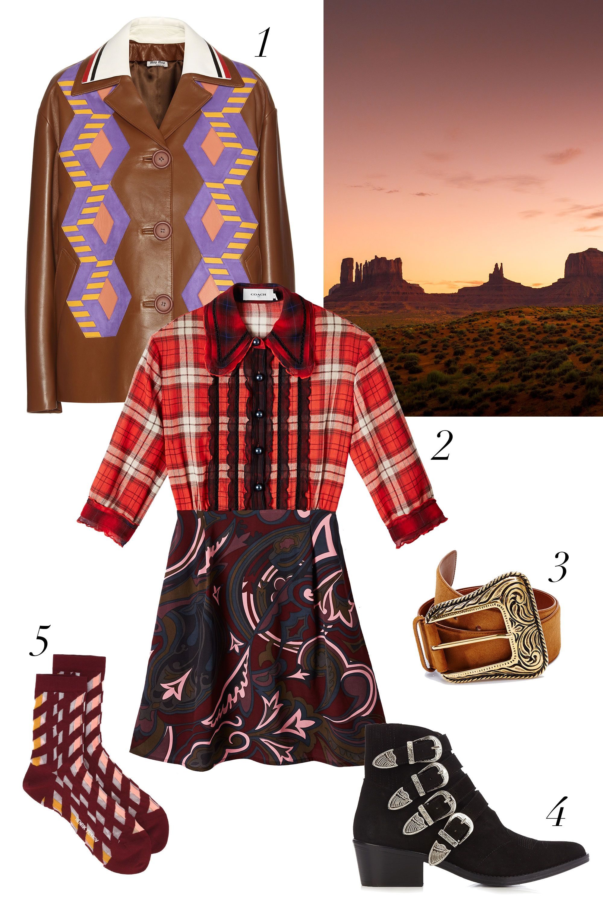 "<p>Because cowgirl-inspired westernwear isn't just a current fashion trend; it's a way of life...</p> <p><strong data-redactor-tag=""strong"" data-verified=""redactor"">What to Pack:</strong> 1. <em data-redactor-tag=""em"">Miu Miu Leather and Suede Jacket, $5,325, <a href=""http://www.mytheresa.com/en-us/leather-and-suede-jacket-548515.html"" target=""_blank"" data-tracking-id=""recirc-text-link"">mytheresa.com</a>;</em> 2. <em data-redactor-tag=""em"" data-verified=""redactor"">Coach 1941 Plaid & Scarf Print Dress, $795, <a href=""http://shop.nordstrom.com/s/coach-1941-plaid-scarf-print-dress/4474722?&cm_mmc=Mindshare_Nordstrom-_-NovemberAcc-_-Hearst-_-proactive"" target=""_blank"" data-tracking-id=""recirc-text-link"">nordstrom.com</a>; 3. Saint Laurent Suede Belt, $595, <a href=""http://shop.nordstrom.com/s/saint-laurent-suede-belt/4381621?&cm_mmc=Mindshare_Nordstrom-_-NovemberAcc-_-Hearst-_-proactive"" target=""_blank"" data-tracking-id=""recirc-text-link"">nordstrom.com</a>; 4. Toga Buckle Suede Ankle Boots, $415, <a href=""http://www.matchesfashion.com/us/products/Toga-Buckle-suede-ankle-boots-193436"" target=""_blank"" data-tracking-id=""recirc-text-link"">matchesfashion.com</a>; 5. Henrik Vibskov 'Laktrits Femme' socks, for similar styles visit </em><a href=""https://www.farfetch.com/shopping/women/designer-henrik-vibskov/items.aspx?designer=2207&category=136290&from=search_listing&q=henrik%20vibskov%20socks"" target=""_blank"" data-tracking-id=""recirc-text-link""><em data-redactor-tag=""em"" data-verified=""redactor"">farfetch.com</em></a></p>"