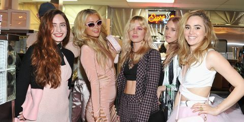 Face, Textile, Outerwear, Sunglasses, Fashion accessory, Fashion, Dress, Long hair, Blond, Layered hair,