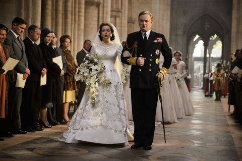 Claire Foy and Jared Harris in The Crown episode 1