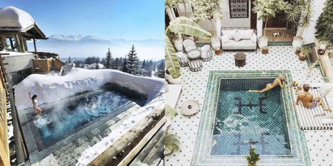 Mesh, Mountain range, Swimming pool, Water feature, Courtyard, Summit, Wire fencing, Snow, Net, Villa,