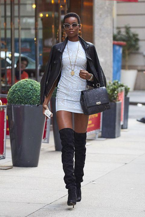 Clothing, Textile, Outerwear, Style, Street, Street fashion, Fashion accessory, Bag, Fashion, Knee,