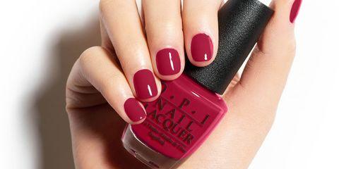 Liquid, Fluid, Finger, Skin, Nail, Red, Magenta, Nail care, Pink, Nail polish,