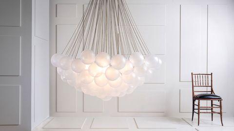 Room, Floor, Interior design, Chair, Art, Design, Light fixture, Natural material,