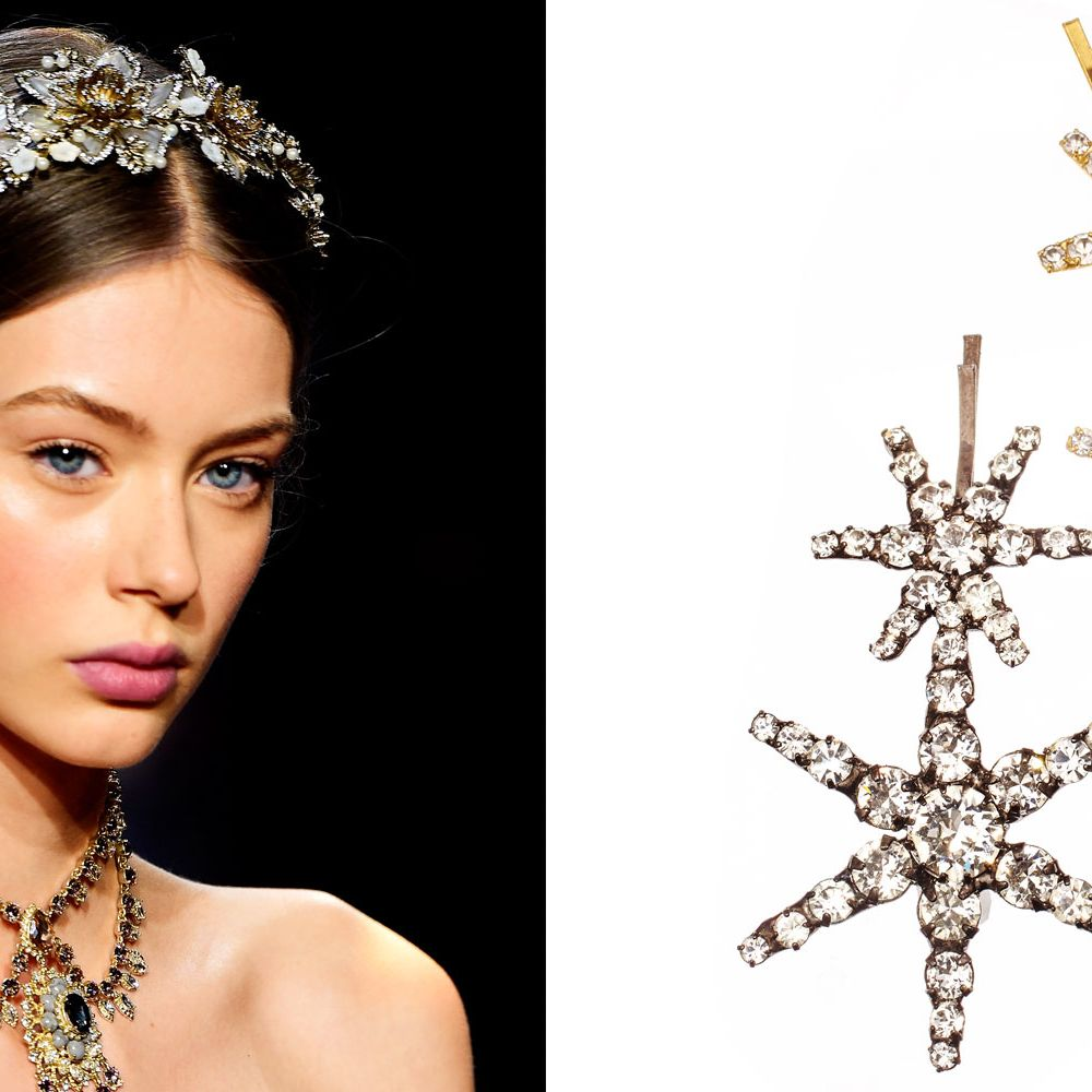 """<p>Consider these sparkly pins an accessory—not the tools you're using to secure your hairstyle, advises Hawkins. They're eye-catching enough on their own, so keep your makeup simple.</p><p><strong data-redactor-tag=""""strong"""" data-verified=""""redactor"""">Jennifer Behr</strong> Venus bobby pins, $128 each, <a href=""""http://www.jenniferbehr.com/double-star-bobby-pin.html"""" target=""""_blank"""" data-tracking-id=""""recirc-text-link"""">jenniferbehr.com</a>. </p>"""