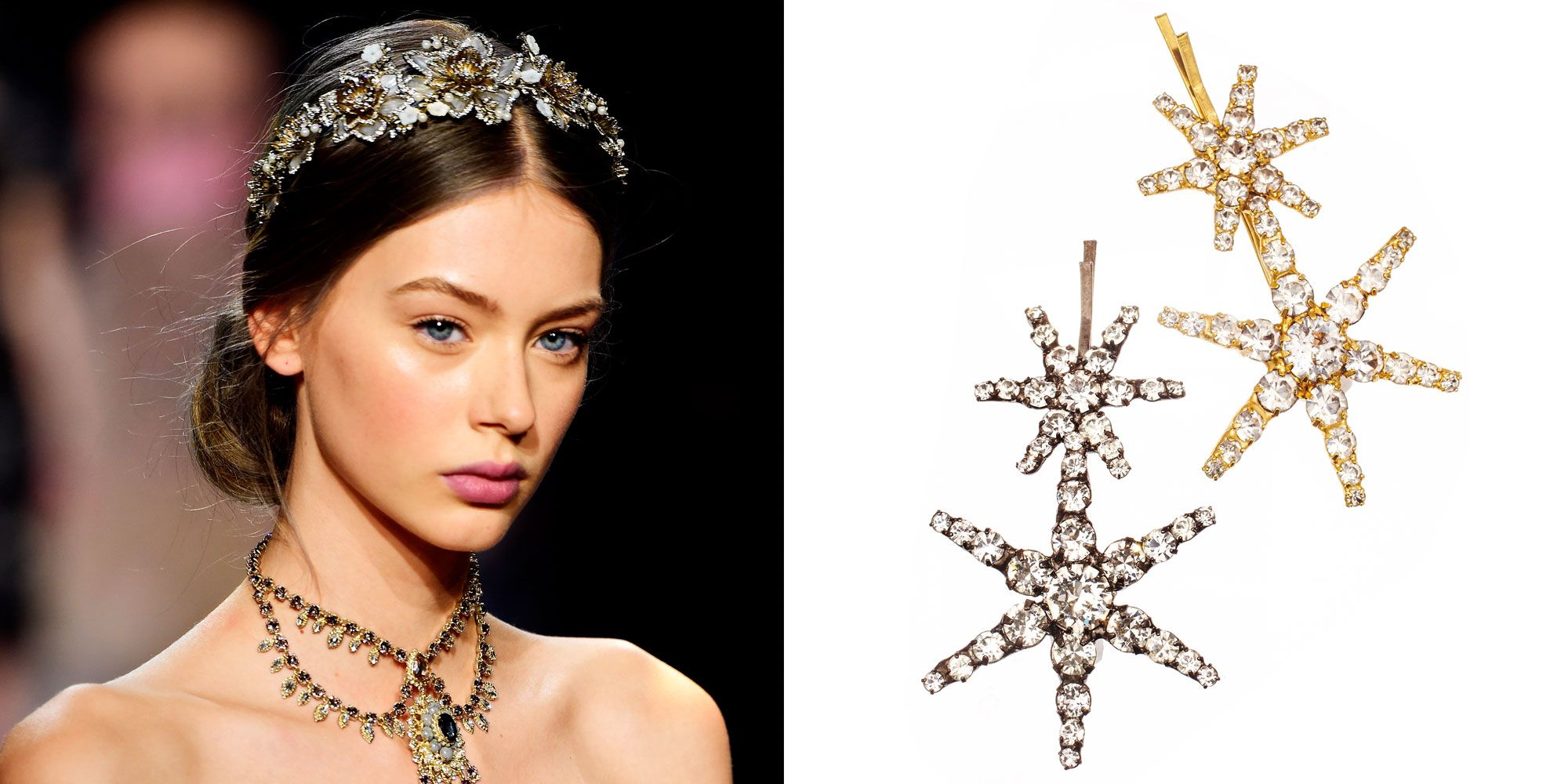 "<p>Consider these sparkly pins an accessory—not the tools you're using to secure your hairstyle, advises Hawkins. They're eye-catching enough on their own, so keep your makeup simple.</p>  <p><strong data-redactor-tag=""strong"" data-verified=""redactor"">Jennifer Behr</strong> Venus bobby pins, $128 each, <a href=""http://www.jenniferbehr.com/double-star-bobby-pin.html"" target=""_blank"" data-tracking-id=""recirc-text-link"">jenniferbehr.com</a>. </p>"