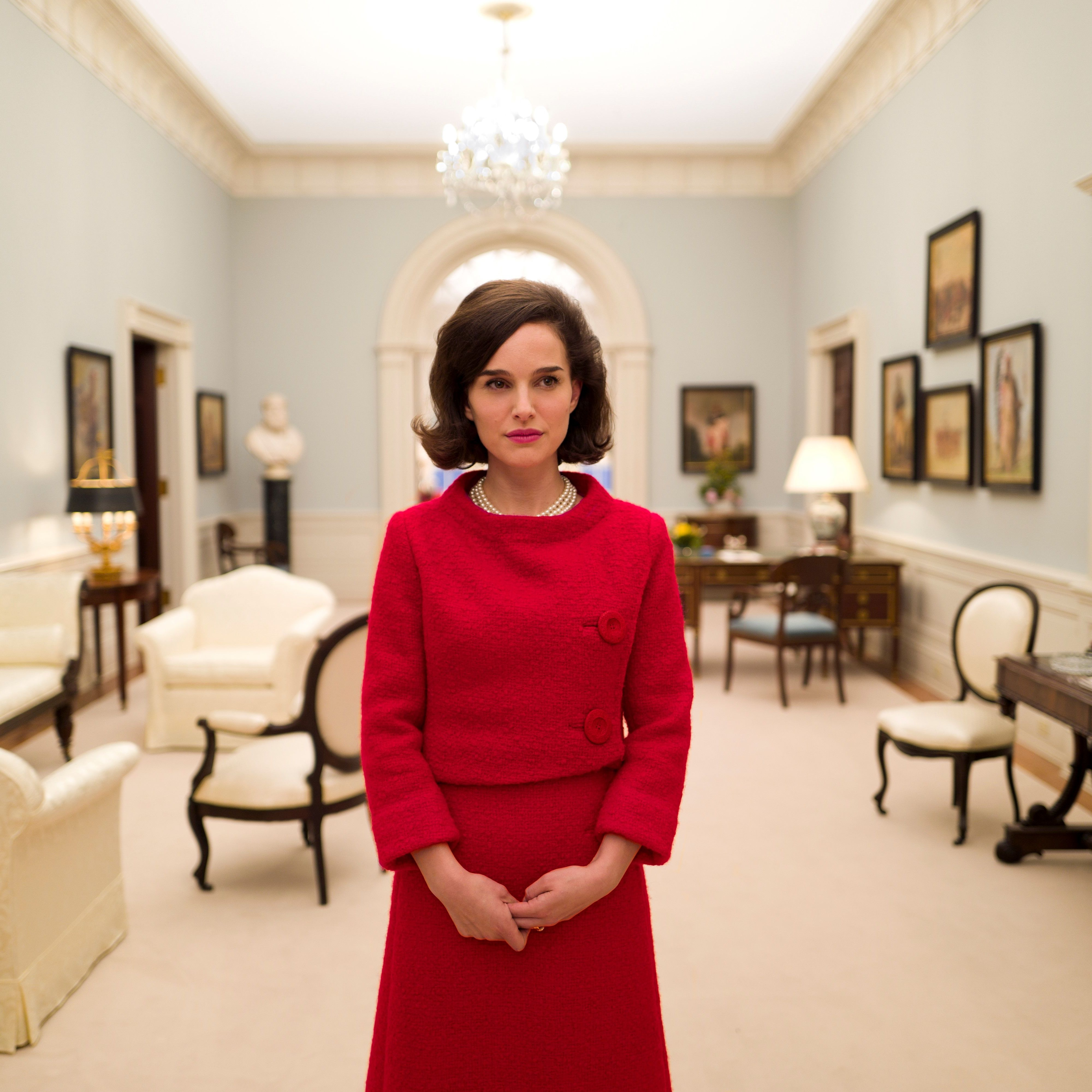 <p>Jackie's famously televised White House tour plays a key role in the film. Here, Portman in a scene from the now-iconic taping.</p>