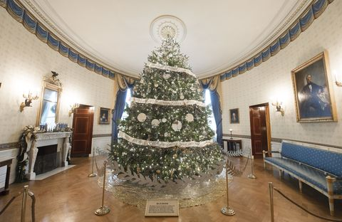 the christmas tree in the blue room of the white house