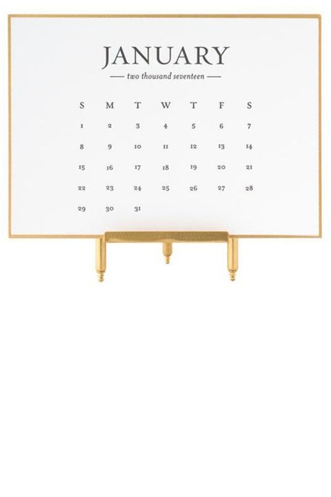 "<p><strong data-redactor-tag=""strong"" data-verified=""redactor"">Sugar Paper</strong> desk calendar, $62, sugarpaper.com.</p>"