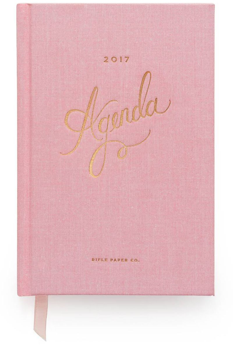 "<p><strong data-redactor-tag=""strong"" data-verified=""redactor"">Rifle Paper Co.</strong> planner, $21, <a href=""https://riflepaperco.com/shop/planners/2017-blush-everyday-agenda/"" target=""_blank"" data-tracking-id=""recirc-text-link"">riflepaperco.com</a>.</p>"