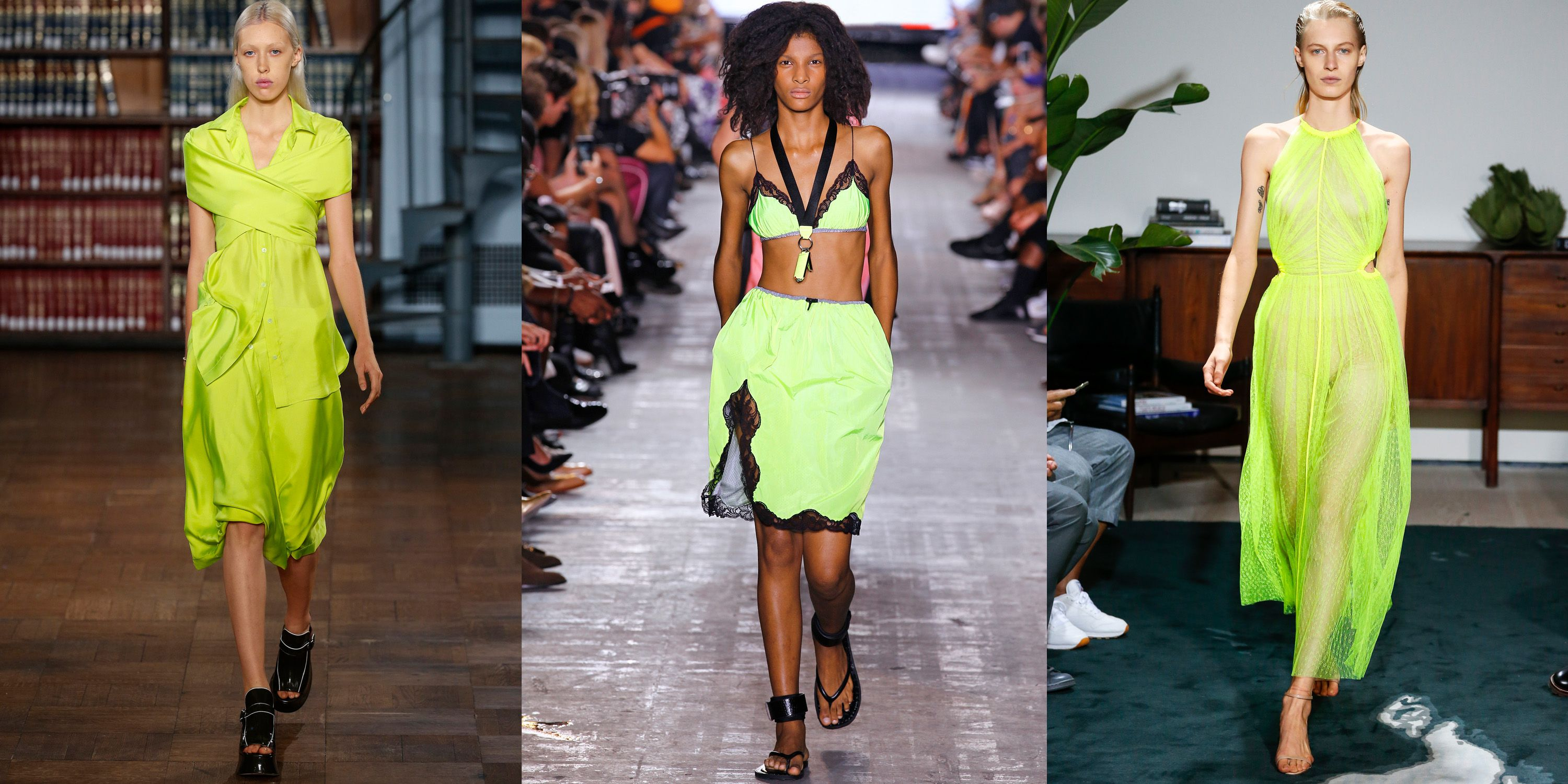 "<p>No shrinking violets here. For spring, designers were thinking highlighter- bright, sending out a parade of clothes in notice-me shades.</p>  <p><em data-redactor-tag=""em"" data-verified=""redactor"">Sies Marjan, Alexander Wang, and Jason Wu</em></p>"