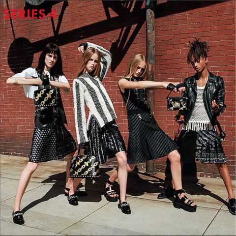 <p>Making a giant leap towards gender neutrality, Louis Vuitton cast Jaden Smith in its Series 4 womenswear campaign—wearing women's clothes. The 18-year old wore a Vuitton pleated skirt, tasseled shirt and leather jacket alongside models Sarah Brannon, Jean Campbell, and Rianne Van Rompae—nonchalantly breaking down gender barriers while doing so. </p>