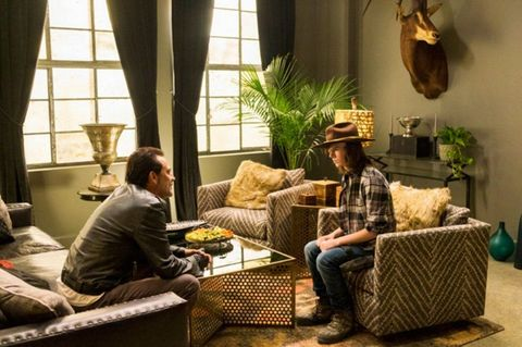 Negan and Carl in The Walking Dead season 7 episode 7 'Sing Me A Song'