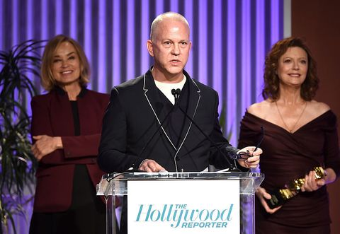 Ryan Murphy, Jessica Lange and Susan Sarandon at The Hollywood Reporter's Annual Women in Entertainment Breakfast in Los Angeles at Milk Studios on December 7, 2016.